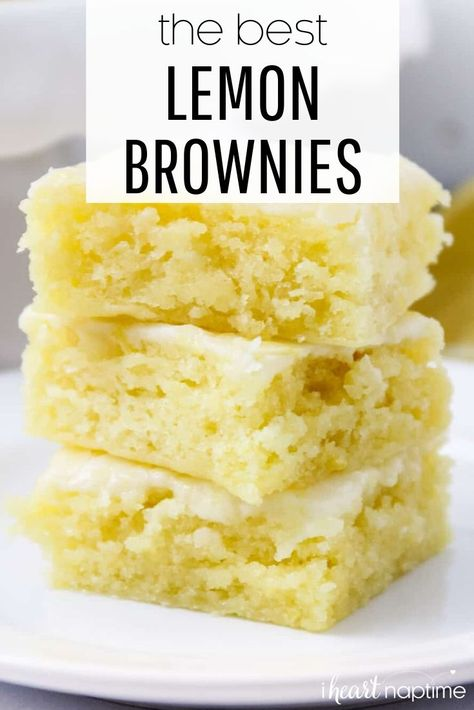 Lemon brownies AKA lemon blondies are super soft and moist bars topped with the most delicious lemon glaze. The perfect refreshing dessert that you'll be making over and over again! #lemon #lemonrecipes #brownies #desserts #dessertrecipes #easydesserts #recipes #iheartnaptime