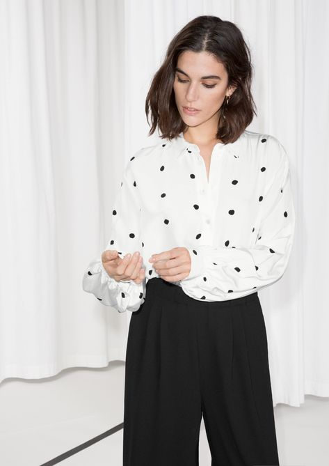 50ec70bb9047d0 Other Stories image 1 of Voluminous Sleeve Blouse in White With Dots