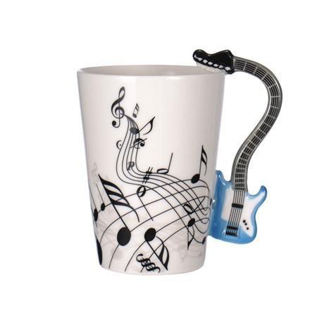 MUSIC INSTRUMENT SHAPED HANDLE MUG CUP GUITAR PIANO VIOLIN DRUM COFFEE TEA NEW