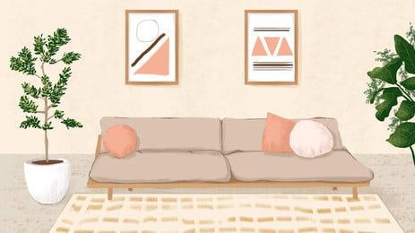 Warm And Simple Living Room Advertising Background Living Room Background Simple Living Room Pink Wallpaper Anime