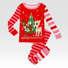 Children/'s Christmas Reindeer Pajamas Set PJs Red Size 7 Petit Lem