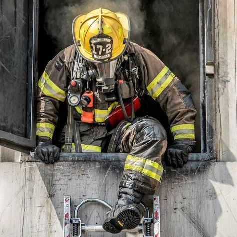 🔥FEATURED POST 🔥 - A South Metro Firefighter Recruit exits the second floor of the training building after performing VEIS.