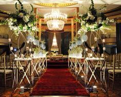Elegant Indian Wedding Decoration With Burgundy Runner And Red Crystal Mandap
