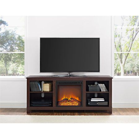 Ameriwood Home Edgewood Tv Console With Fireplace For Tvs Up To 60 Inch Espresso Size 60 Inch Tv Console With Fireplace Fireplace Tv Stand Electric Fireplace Tv Stand
