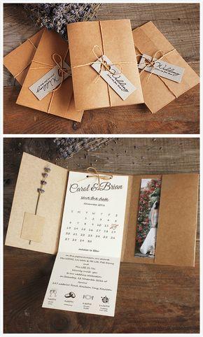 Kraft Pocket Wedding Invitations, Rustic Wedding Invites Custom Wording Print (-...