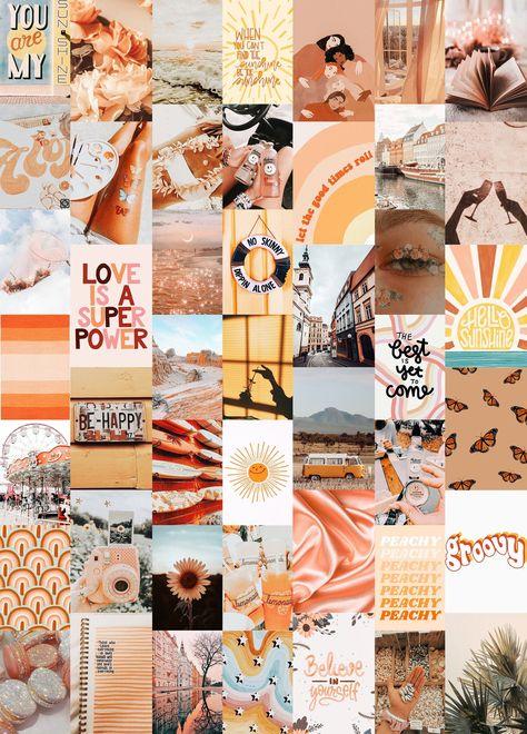Dreamy Wall Collage Kit, Orange Aesthetic Collage Kit, Boho Collage Kit Orange, Digital Collage Kit, Digital Prints - 46Pcs Instant Download