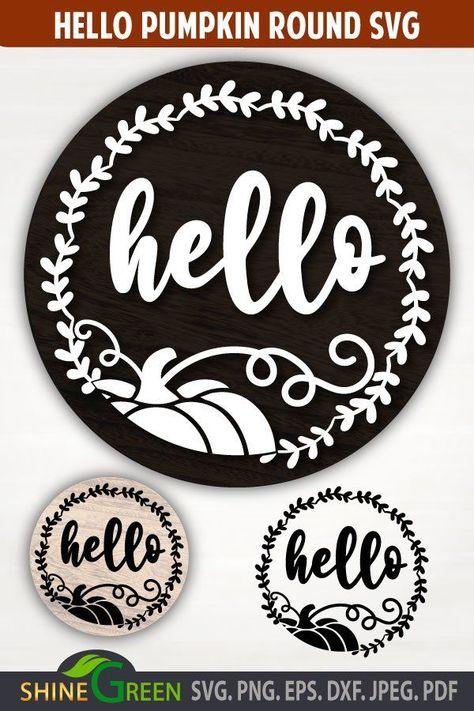 Fall SVG Round Sign - Hello Pumpkin Floral Monogram (1013633)   Cut Files   Design Bundles