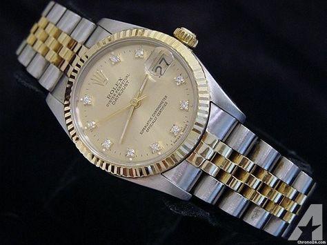 Rolex Two-tone 18k Gold/ss Datejust Date Watch W/diamonds