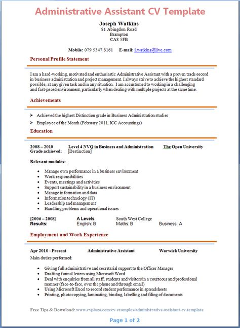 Administrative Assistant CV Template Page 1 Preview Careers   Administrative  Assistant Job Description  Duties Of Administrative Assistant