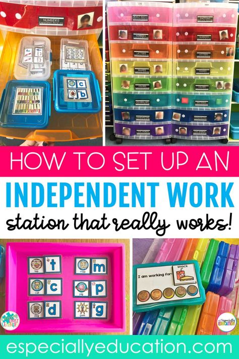 Task Box Independent Work System Looking for a way to organize independent work time for your special education classroom? Students gain more independent and personal [. Life Skills Classroom, Autism Classroom, Life Skills Activities, Autism Activities, Future Classroom, Preschool Special Education, Higher Education, Elementary Special Education, Education System