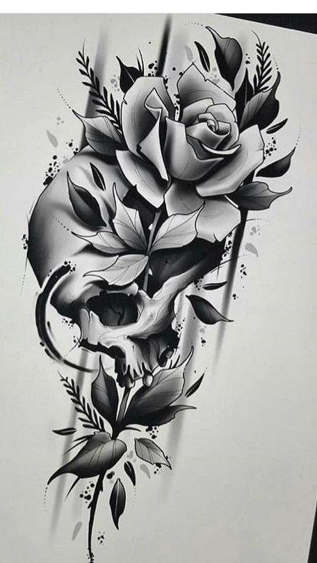 Skull Rose Skull Rose Tattoos Rose Tattoo Design Skull Tattoo Flowers