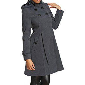 Laeticia Dreams Damen Mantel mit Kapuze Jacke XS S M L XL