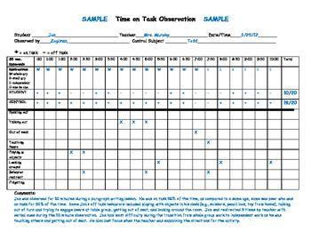 Special Education Time On Task Observation Chart Special Education Special Education Behavior Education Documentation