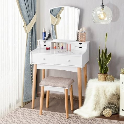 Costway Vanity Table 6 Dressing Table Cushioned Stool Makeup Table