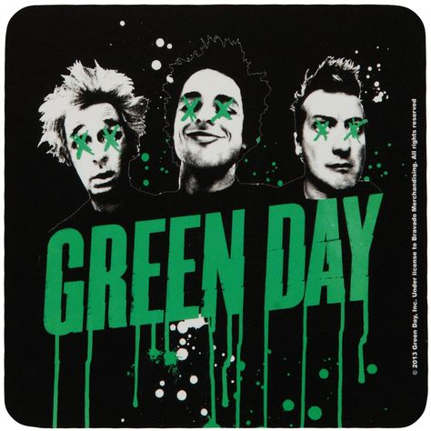 Green Day Coaster, Dripping Green Logo With Black & White Uno Dos Tre Faces, Green Day Drips Coaster, Green Day Home Décor, Green Day Merchandise Green Day Poster, Green Day Albums, Musica Punk, Green Day Band, Band Wallpapers, Phone Wallpapers, Pochette Album, Billie Joe Armstrong, Music Album Covers