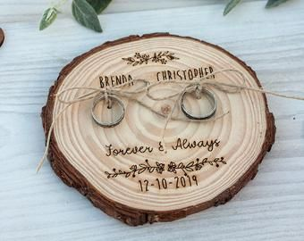 Rustic Wedding Ring Holder Ring Bearer Pillow Wood Slice Ring Pillow Alternative Engraved log slice Fall wedding decor – Cell Phone Ring Stand – Ideas of Cell Phone Ring Stand – Rustic Wedding Ring Holder Ring B Ring Holder Wedding, Ring Pillow Wedding, Wedding Pillows, Ring Bearer Pillows, Ring Pillows, Wood Slices Wedding, Rosa Ring, Rustic Ring Bearers, Rustic Wedding Rings