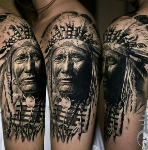 Native American Chief Tattoo Inkstylemag Native American Chief Tattoo Native Tattoos Indian Tattoo