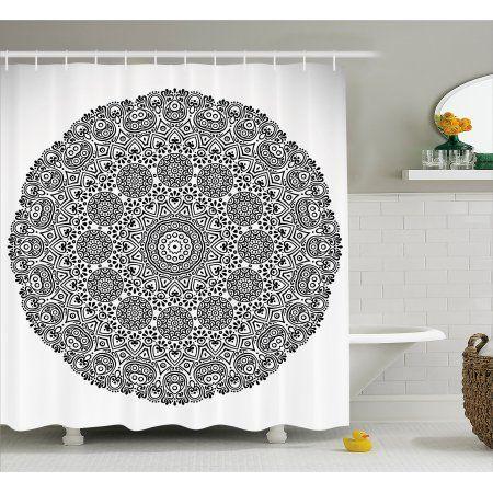 Mandala Decor Shower Curtain Rounded Indian Spiritual Motif With