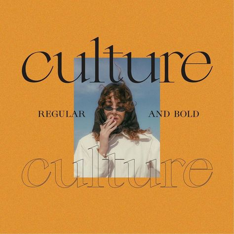 Culture is an edgy modern serif font. It's long serifs and off axis curves make it a unique high contrast typeface that is all style. It comes in regular and bold with a lower and uppercase, numbers, punctuation plus multilingual letters. A must have for any modern graphic designer! #typography #font #modern #graphicdesign Modern Graphic Design, Graphic Design Trends, Graphic Design Posters, Graphic Design Inspiration, Graphic Design Typography, Graphic Designers, Web Design, Media Design, Layout Design