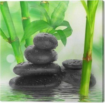 Leinwandbild Spa Hintergrund Schwarze Steine Und Bambus Auf