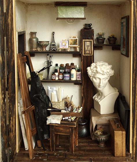 The Cottage with an old Vinyl records, turntables -handmade Dollhouse Miniatures My New Room, My Room, Artist Aesthetic, The Secret History, Small Studio, Aesthetic Bedroom, Oeuvre D'art, Art Studios, Light In The Dark