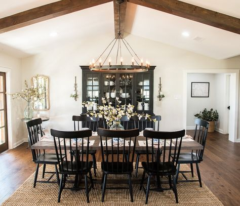 Episode 04 - The Big Country House - Magnolia Market. Love this farmhouse style dining room with black chairs and wood beams Decor, Home, Dining Room Design, Dining Room Table, Fixer Upper Dining Room, Dining Room Inspiration, House, Farmhouse Dinning Room, Dinning Room