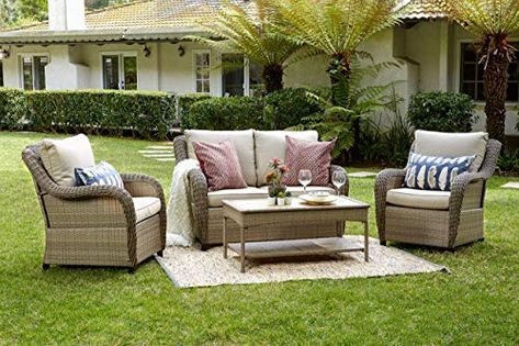 The Perfect Quality Outdoor Living 65 517298 Houston All Weather Wicker 4 Piece Deep Seating Set Tan Cus Deep Seating Sectional Patio Furniture Outdoor Living