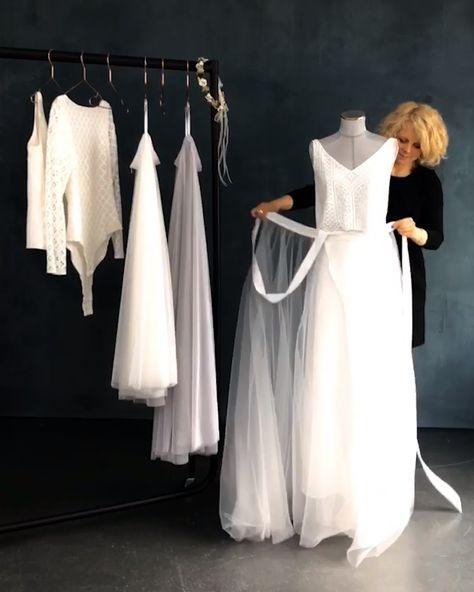 Moderne Boho Brautkleid Zweiteiler mit Tüll Überrock und Spitzentop. Mix&Match Hochzeitskleider aus feinem Tüll und zarter Spitze, moderne Brautkleider im Boho Style, individuell und hochwertig.