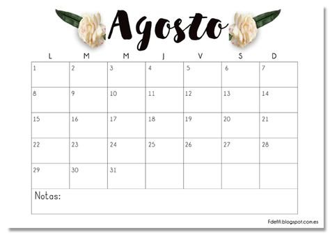 Calendario imprimible Agosto #descargable #printable