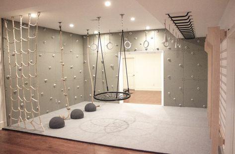 Indoor Playroom, Kids Indoor Gym, Indoor Jungle Gym, Garage Playroom, Kids Gym, Kids Basement, Cool Kids Rooms, Playroom Design, Playroom Ideas