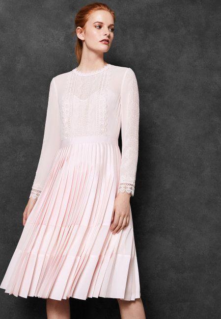 Womens Ted Baker Looez Pink Lace Trim Pleated Midi Dress 150044 Http Www Dressescoastfashion Com Pleated Midi Dress Dress Clothes For Women Pink Midi Dress