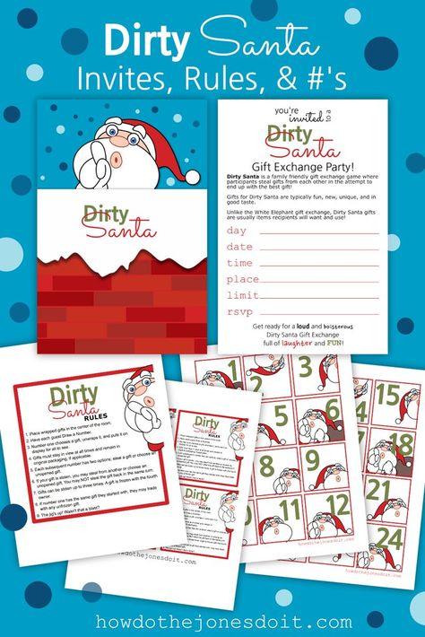 Dirty Santa Invites, Rules, & #'s (PDF)