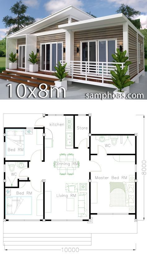 Home Design Plan 10x8m 3 Bedrooms With Interior Design Samphoas Plansearch Architecture House Home Design Plan Bungalow House Design