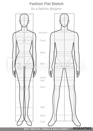 Body Template Fashion Flat Sketches Technical Drawings Female Male 8 Heads Fashion Sketches Men Fashion Sketch Template Body Template