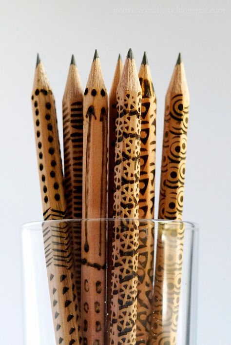 Pyrography wooden pencils