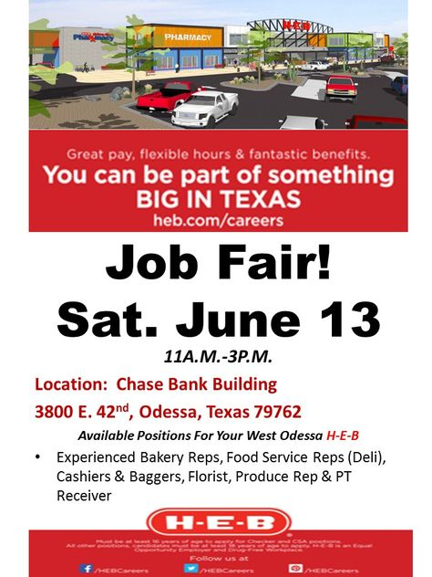 Our ODESSA 2 Store is NOW HIRING \ will be hosting a Job Fair this - now hiring flyer template