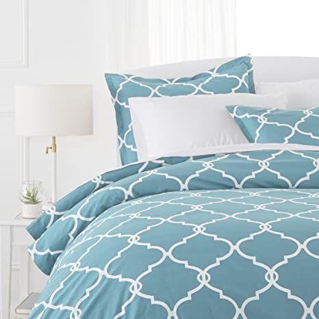 Pinzon 300 Thread Count 100 Cotton Percale Duvet Cover Set King Spa Blue Duvet Cover Sets Duvet Covers Duvet