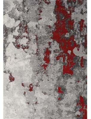 17 Stories Atticus Expression Gray Red Area Rug Organic Rug Red