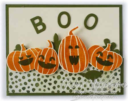 Stampin' Up! ... handmade Halloween card ... BooFrontSmall ... stamped and die cut pumpkins with stamped jack-o-lantern faces ... cute!