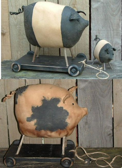 Pigs in 2 sizes and pull toy - 139