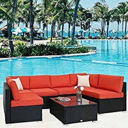 Pool Kinbor Outdoor Furniture Sectional Sofa All-Weather Wicker with Blue Cushions /& Glass Coffee Table Patio Backyard 5-Piece Set