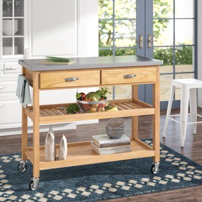 Alcott Hill Drumtullagh Kitchen Island With Stainless Steel Top In