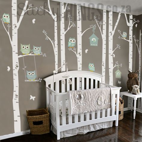 The Owl Nursery Wall Vinyl Forest - .zaYou can find Owl nursery and more on our website.The Owl Nursery Wall Vinyl Forest - . Owl Themed Nursery, Baby Owl Nursery, Safari Theme Nursery, Girl Nursery Themes, Nursery Decals, Nursery Room, Forest Nursery, Elephant Nursery, Owl Nursery Decor