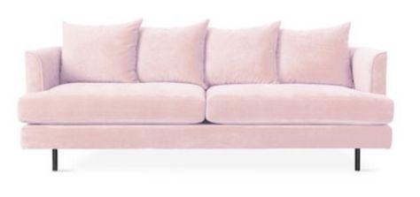 Modern pink velvet couch