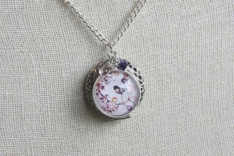 e9ee5df9824b Silver Essential Oil Diffuser Necklace with Whimsical Purple Bird Pendant