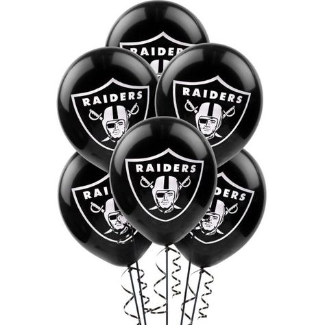 Oakland Raiders Balloons 12in 6ct - Latex