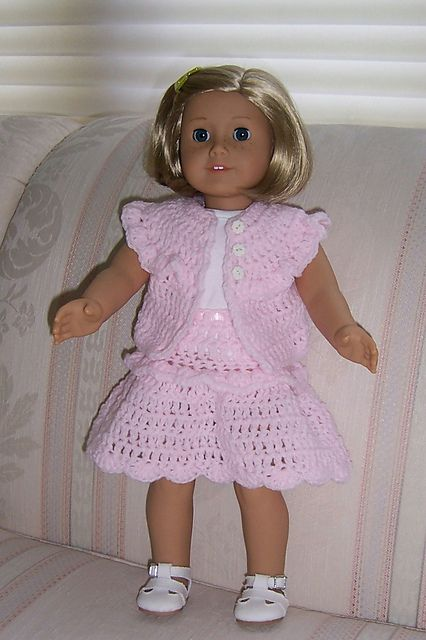 Free Ruffled Sleeveless Crocheted Sweater & Skirt pattern for 18-inch Dolls by Janice Helge