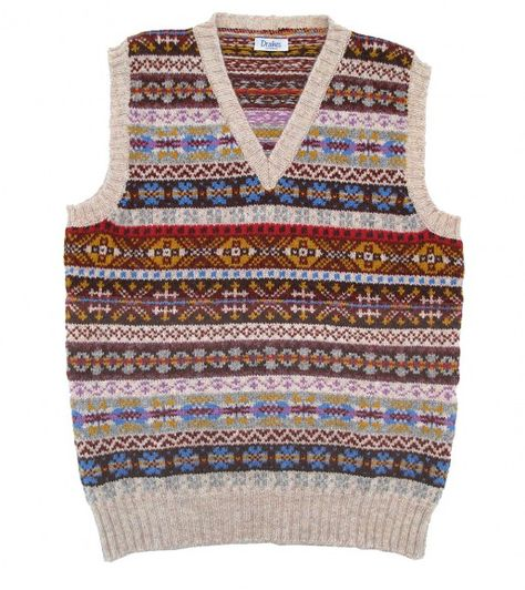 Drakes sleeveless Shetland Fairisle pullover make by Jameison's ...