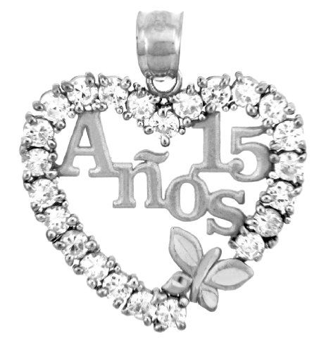 Sterling Silver Sweet 15 Anos anniversaire quinceañera collier pendentif made in USA