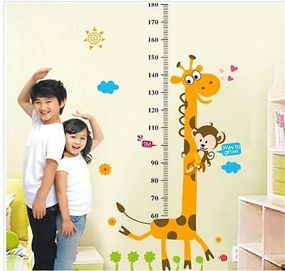 Removable Space Rocket Height Chart Measure Wall Sticker Kid Baby Home Room Deco